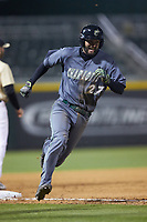 Jackson Mims (27) of the Charlotte 49ers races around third base during the game against the Wake Forest Demon Deacons at BB&T BallPark on March 13, 2018 in Charlotte, North Carolina.  The 49ers defeated the Demon Deacons 13-1.  (Brian Westerholt/Four Seam Images)