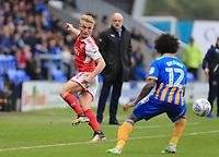 Kyle Dempsey of Fleetwood Town wins the ball against Junior Brown of Shrewsbury Town during the Sky Bet League 1 match between Shrewsbury Town and Fleetwood Town at Greenhous Meadow, Shrewsbury, England on 21 October 2017. Photo by Leila Coker / PRiME Media Images.