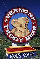 Vermont, Shelburne, VT, The colorful sign at the entrance to The Vermont Teddy Bear Company in Shelburne.