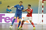Ugra Yugorsk's Dmitri Lyskov (l) and SL Benfica's Fabio Cecilio during UEFA Futsal Cup 2015/2016 Semifinal match. April 22,2016. (ALTERPHOTOS/Acero)