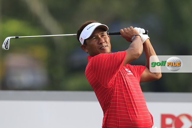 Thongchai Jaidee (THA) Team Asia tees off the par3 2nd tee during Match 1 of Friday's Fourball Matches of the 2016 Eurasia Cup presented by DRB-HICOM, held at the Glenmarie Golf &amp; Country Club, Kuala Lumpur, Malaysia. 15th January 2016.<br /> Picture: Eoin Clarke | Golffile<br /> <br /> <br /> <br /> All photos usage must carry mandatory copyright credit (&copy; Golffile | Eoin Clarke)