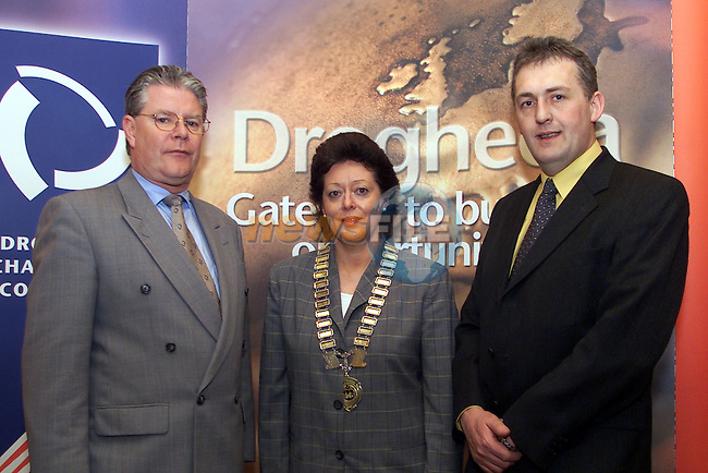 Jerry McCrohan, President of the American Chamber of Commerce in Ireland, Mary Considine, President of the Drogheda Chamber of Commerce and Gerry Laydon, Drogheda Concentrates..Picture: Arthur Carron/Newsfile