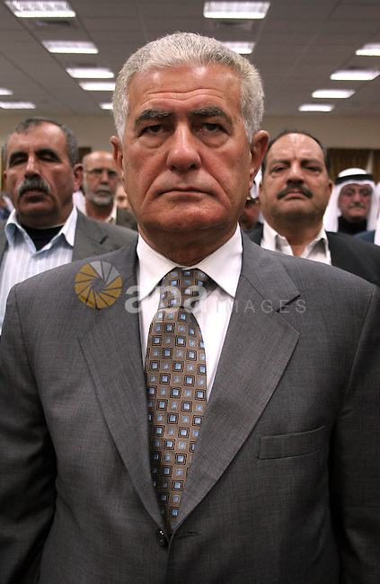 A Palestinian Fatah Movement leader, Abbas Zaki takes part in a ceremony honoring the chief of the general personnel council, Hussein al-Arja, in the building of Hebron governorate in the West Bank city of Hebron on May 3,2010. Photo by Najeh Hashlamoun