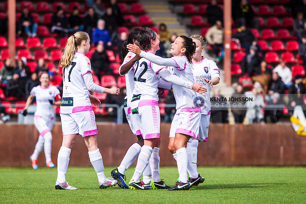 Solna 2014-04-13 Fotboll Damallsvenskan AIK - FC Roseng&aring;rd :  <br /> Roseng&aring;rds Kathleen Radtke har gjort 4-0 och gratuleras av Roseng&aring;rds Alexandra Riley , Roseng&aring;rds Anita Asante och Roseng&aring;rds Sofia Anker Kofoed <br /> (Foto: Kenta J&ouml;nsson) Nyckelord:  AIK Gnaget FC Roseng&aring;rd Malm&ouml; jubel gl&auml;dje lycka glad happy