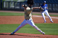 Vanderbilt Commodores pitcher Hayden Stone (32) delivers a pitch during a game against the Indiana State Sycamores on February 21, 2015 at Charlotte Sports Park in Port Charlotte, Florida.  Indiana State defeated Vanderbilt 8-1.  (Mike Janes/Four Seam Images)