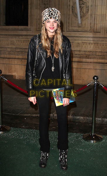 GABRIELLA CALTHORPE.Attending the Gala VIP Opening Night of Cirque du Soleil's 'Varekai' at the Royal Albert Hall, London, England, UK, .January 5th 2010..arrivals full length fur leopard print animal hat black leather jacket boots bag studded straps studs .CAP/ROS.©Steve Ross/Capital Pictures.