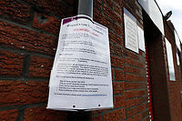 9th May 2020, Selhurst Park, London, England; Stadium deserted during the lockdown for the Covid-19 virus; Croydon Council document outside Selhust Park about Coronavirus