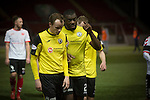 Clyde versus Edinburgh City, SPFL League 2 game at Broadwood Stadium, Cumbernauld. The match ended 0-0, watched by a crowd of 461. Photo shows City's Joe Mbu and Ross Guthrie (left) leaving the pitch after the match.