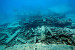 Photo shows the wreckage of the 407-foot Japanese freighter Shoan Maru in the Tanapag lagoon off the west coast of Saipan.  .Robert Gilhooly Photo