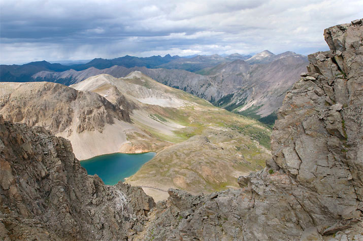 A look down into Grizzly Lake from atop the Continental Divide in Colorado.
