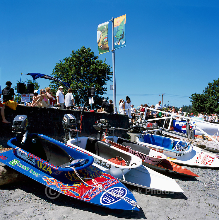 Nanaimo, BC, British Columbia, Canada - Bathtubs lined up on Beach after finishing International World Championship Bathtub Race