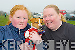 Niamh and Tania O'Byrne Beaufort and their terrier at Castlemaine Vintage Rally on Sunday ..