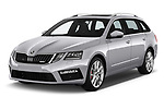 2017 Skoda Octavia Combi RS 5 Door Wagon angular front stock photos of front three quarter view