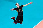 18.09.2019, Lotto Arena, Antwerpen<br />Volleyball, Europameisterschaft, Deutschland (GER) vs. Slowakei (SVK)<br /><br />Aufschlag / Service Simon Hirsch (#13 GER)<br /><br />  Foto © nordphoto / Kurth