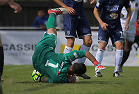 Auckland's Enaut Zubikarai makes a save during the 2018 OFC Champions League semifinal between Auckland City FC and Team Wellington at Kiwitea St in Auckland, New Zealand on Sunday, 29 April 2018. Photo: Dave Lintott / lintottphoto.co.nz