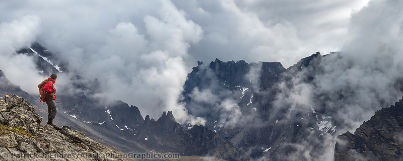 Panorama of hiker in the Brooks Range, Gates of the Arctic National Park, Alaska