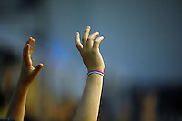 Fans wave for promotional product during the ANZ Netball Championship match between the Central Pulse and Waikato Bay Of Plenty Magic at TSB Bank Arena, Wellington, New Zealand on Monday, 30 March 2015. Photo: Dave Lintott / lintottphoto.co.nz