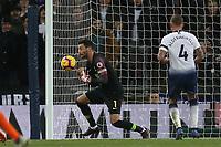 Hugo Lloris of Tottenham Hotspur fumbles a shot during Tottenham Hotspur vs Manchester City, Premier League Football at Wembley Stadium on 29th October 2018