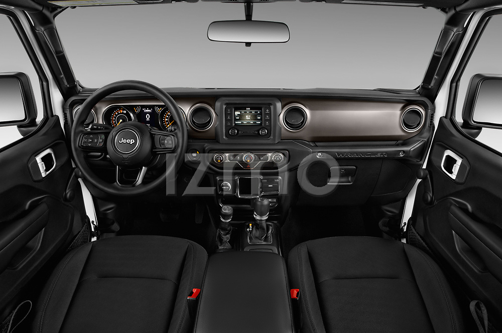 Stock photo of straight dashboard view of a 2020 Jeep Wrangler Unlimited Sport S 5 Door SUV