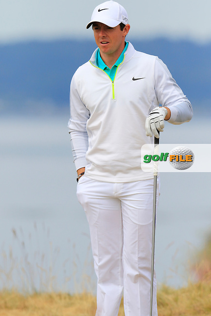Rory MCILROY (NIR) on the 18th tee during Thursday's Round 1 of the 2015 U.S. Open 115th National Championship held at Chambers Bay, Seattle, Washington, USA. 6/18/2015.<br /> Picture: Golffile | Eoin Clarke<br /> <br /> <br /> <br /> <br /> All photo usage must carry mandatory copyright credit (&copy; Golffile | Eoin Clarke)
