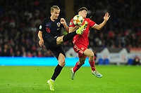 Tin Jedvaj of Croatia battles with Daniel James of Wales during the UEFA Euro 2020 Qualifier between Wales and Croatia at the Cardiff City Stadium in Cardiff, Wales, UK. Sunday 13 October 2019