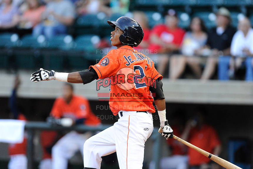 Shortstop Jeffry Santos (21) of the Greeneville Astros bats in a game against the Bristol Pirates on Friday, July 25, 2014, at Pioneer Park in Greeneville, Tennessee. Greeneville won, 9-4. (Tom Priddy/Four Seam Images)