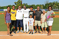 5 May 2012:  FIU outfielder Pablo Bermudez (12) poses with family members during the Senior Day Ceremony prior to the game.  The FIU Golden Panthers defeated the Middle Tennessee State University Blue Raiders, 12-6, at University Park Stadium in Miami, Florida.