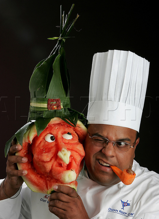 10/19/04--Al Diaz/Miami Herald Staff--Miami--Chef Nelson Millán Chef Garde Manger of the Ocean Reef Club. .This is for Halloween Food Cover Story.
