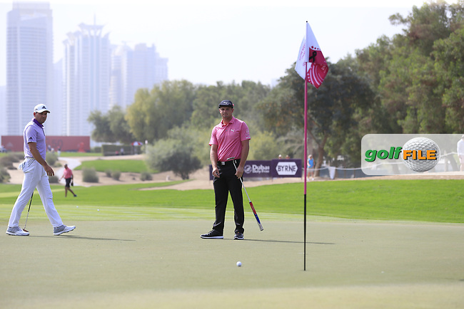 Bryson Dechambeau (USA) on the 2nd during Round 2 of the Omega Dubai Desert Classic, Emirates Golf Club, Dubai,  United Arab Emirates. 25/01/2019<br /> Picture: Golffile | Thos Caffrey<br /> <br /> <br /> All photo usage must carry mandatory copyright credit (&copy; Golffile | Thos Caffrey)