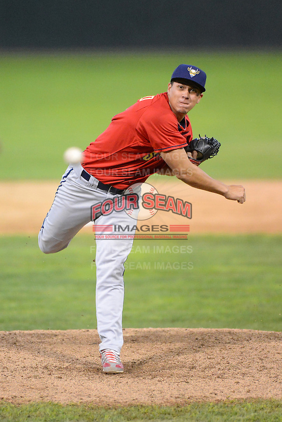 State College Spikes pitcher Jhonny Polanco #34 during the second game of a doubleheader against the Batavia Muckdogs on June 29, 2013 at Dwyer Stadium in Batavia, New York.  Batavia defeated State College 5-4.  (Mike Janes/Four Seam Images)