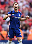 Gary Cahill of Chelsea celebrates at the end of the FA cup semi-final match at Wembley Stadium, London. Picture date 22nd April, 2018. Picture credit should read: Robin Parker/Sportimage