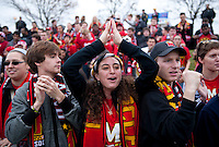 Maryland fans cheer on their team during the ACC Finals at the Maryland SoccerPlex in Boyds, MD.  Maryland defeated Virginia, 1-0, to win the title.