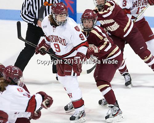 Lyndsey Fry (Harvard - 9), Dana Trivigno (BC - 8) - The Boston College Eagles defeated the Harvard University Crimson 2-1 in the 2013 Beanpot opening round on Tuesday, February 5, 2013, at Matthews Arena in Boston, Massachusetts.