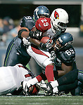 Arizona Cardinals running back Chester Taylor is tackled by Seahawks defensive tackle Clinton McDonald (69) and defensive end Red Bryant at CenturyLink Field in Seattle, Washington September 25, 2011.  The Seahawks beat the Cardinals 13-10.  ©2011 Jim Bryant Photo. All Rights Reserved.