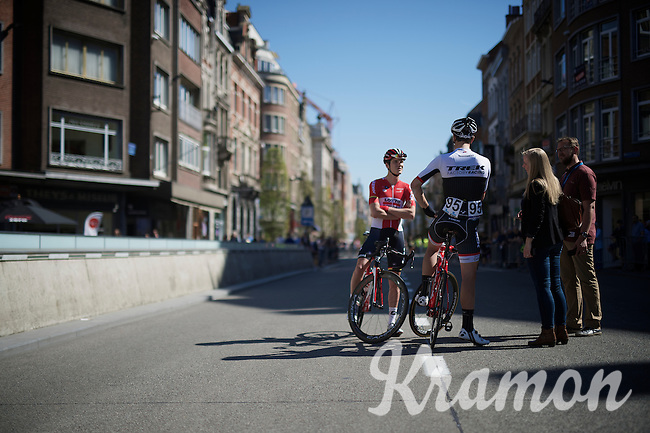 Jasper Stuyven (BEL/Trek Factory Racing) having a chat in the middle of Main Street with Louis Vervaeke (BEL/Lotto-Soudal) in his hometown of Leuven (where the race starts)<br /> <br /> 55th Brabantse Pijl 2015