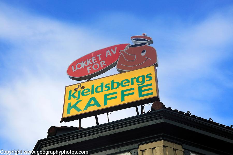 Kjeldsbergs Kaffee coffee advertisement sign, Trondheim, Norway