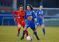 20191221 - WOLUWE: Gent's Debby Coenrats (right) and Woluwe's Lisa Peters (41) (left) are in action during the Belgian Women's National Division 1 match between FC Femina WS Woluwe A and KAA Gent B on 21st December 2019 at State Fallon, Woluwe, Belgium. PHOTO: SPORTPIX.BE | SEVIL OKTEM