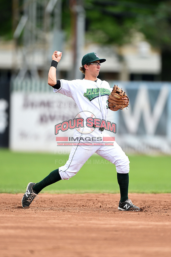 Jamestown Jammers shortstop Michael Fransoso (3) throws to first during a game against the Mahoning Valley Scrappers on June 16, 2014 at Russell Diethrick Park in Jamestown, New York.  Mahoning Valley defeated Jamestown 2-1.  (Mike Janes/Four Seam Images)