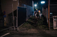 Kohei Maeda (JAP) emerging from a dark&amp;narrow alley<br /> <br /> Elite Men's Race<br /> Superprestige Diegem / Belgium 2017