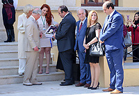 Pictured: Prince Charles and wife the Duchess of Cornwall are presented with gifts by local dignitaries at the village of Arhanes on the island of Crete, Greece. Friday 11 May 2018 <br /> Re: HRH Prnce Charles and his wife the Duchess of Cornwall visit thevillage of Arhanes near Heraklion, Greece.