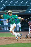 Eric Gilgenbach (15) of the Notre Dame Fighting Irish follows through on his swing against the Florida State Seminoles in Game Four of the 2017 ACC Baseball Championship at Louisville Slugger Field on May 24, 2017 in Louisville, Kentucky. The Seminoles walked-off the Fighting Irish 5-3 in 12 innings. (Brian Westerholt/Four Seam Images)