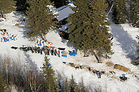 Volunteers at the Ophir checkpoint line up for a group photo taken from the air on Thursday afternoon.