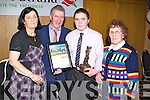 Patrick McCarthy, Kilgarvin with his parents Mary and Sylvester  McCarthy and grandmother Nellie McCarthy after reciving his Kerry Garda achievement award at the Ballyroe Heights hotel, Tralee on Friday.