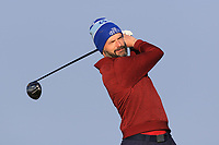 Mark O'Rourke on the 1st tee during Round 4 of The West of Ireland Open Championship in Co. Sligo Golf Club, Rosses Point, Sligo on Sunday 7th April 2019.<br /> Picture:  Thos Caffrey / www.golffile.ie
