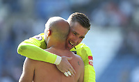 West Ham United's Adrian and Pablo Zabaleta celebrate at the end of the game<br /> <br /> Photographer Rob Newell/CameraSport<br /> <br /> The Premier League - Leicester City v West Ham United - Saturday 5th May 2018 - King Power Stadium - Leicester<br /> <br /> World Copyright &copy; 2018 CameraSport. All rights reserved. 43 Linden Ave. Countesthorpe. Leicester. England. LE8 5PG - Tel: +44 (0) 116 277 4147 - admin@camerasport.com - www.camerasport.com