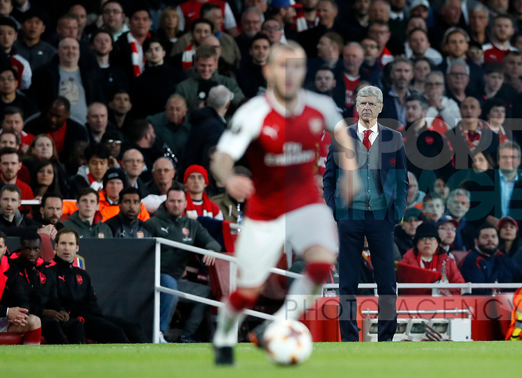 Arsenal's Arsene Wenger watches Jack Wilshere during the Europa League Semi Final 1st Leg, match at the Emirates Stadium, London. Picture date: 26th April 2018. Picture credit should read: David Klein/Sportimage