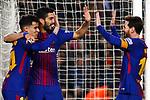 League Santander 2017/2018. Game: 25.<br /> FC Barcelona vs Girona FC: 6-1.<br /> Coutinho, Luis Suarez &amp; Lionel Messi.