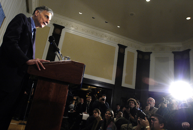 Consumer advocate Ralph Nader announced his bid to run as an independent for President yesterday, and he spoke to the press today at the National Press Club in Washington, DC.