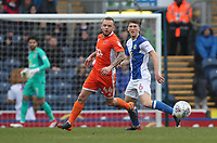 Blackburn Rovers' Richard Smallwood and Blackpool's Jay Spearing<br /> <br /> Photographer Rachel Holborn/CameraSport<br /> <br /> The EFL Sky Bet League One - Blackburn Rovers v Blackpool - Saturday 10th March 2018 - Ewood Park - Blackburn<br /> <br /> World Copyright &copy; 2018 CameraSport. All rights reserved. 43 Linden Ave. Countesthorpe. Leicester. England. LE8 5PG - Tel: +44 (0) 116 277 4147 - admin@camerasport.com - www.camerasport.com