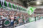 Stockholm 2014-05-24 Fotboll Superettan Hammarby IF - Varbergs BoIS FC  :  <br /> Hammarbys supportrar med en flagga<br /> (Foto: Kenta J&ouml;nsson) Nyckelord:  Superettan Tele2 Arena HIF Bajen Varberg BoIS supporter fans publik supporters